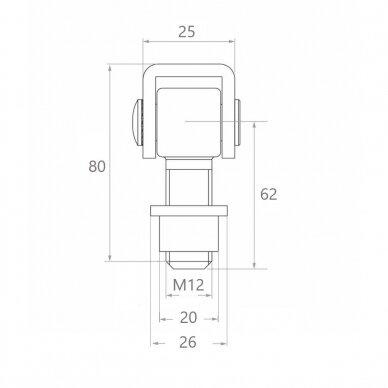 Reguliuojamas lankstas (M12) 2