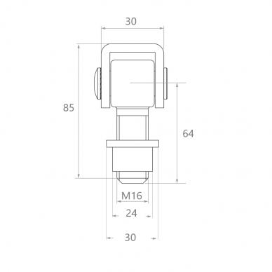 Reguliuojamas lankstas (M16) 2
